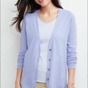 J. Jill Silk Lilac Purple V Neck Button Up Cardigan Size MP